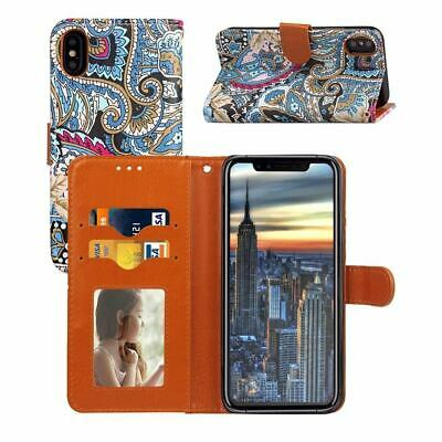 For iPhone XS,X Wallet Case,Abstract Flower Protective PU Leather Folio Cover