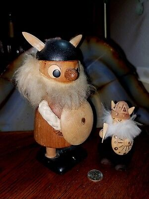 Vintage Viking Wooden Carved Pair Of Two A Must Have For Man Cave Germany?