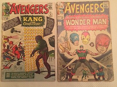 (2) Avengers Comics #8 and #9 Kang Wonder Man Marvel 1964 Poor Condition