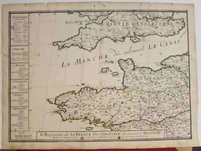 Normandy Brittany France 1671 Pierre Du Val Unusual Antique Copper Engraved Map