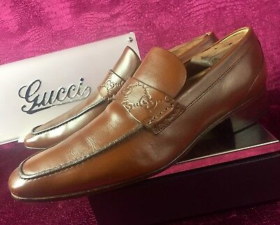3f509ffce Mens Brown Gucci Leather GG Loafers Sz 8.5 G / 9.5 US / Made In ITALY