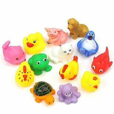 13Pcs Cute Rubber Animals Float Squeeze Baby Wash Bath Swimming Toys CA