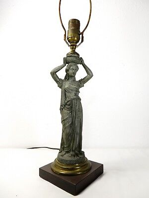 Antique VICTORIAN SPELTER Greek / Roman ROBED WOMAN STATUE TABLE LAMP Sculpture