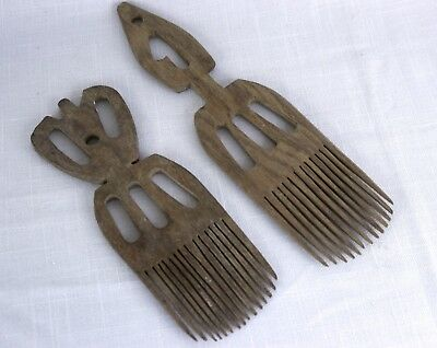 Vintage African Hand Carved Wooden Combs