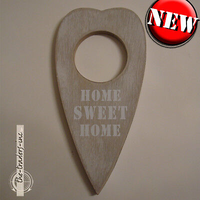 Shabby Chic ~ Wooden Hanging Heart Plaque Decoration ~ HOME SWEET HOME