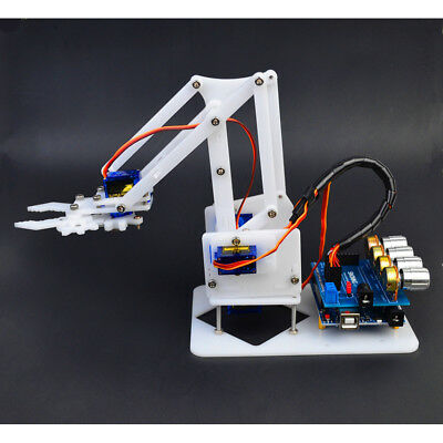 New DIY 4-Dof Robot Arm 4 Servos & Plastic Gear Kits for Arduino Science Toy