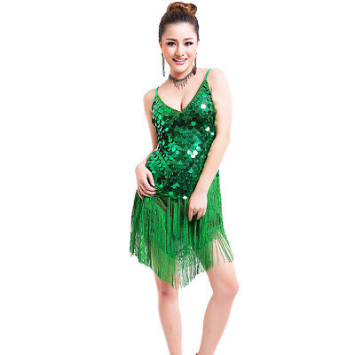 20s Dress 1920s Flapper Gatsby Party Charleston Fringe Cocktail Sequined Green #