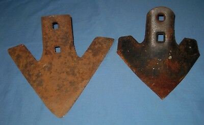 Lot 2 OLD VTG ANTIQUE METAL FARM Parts GARDEN TOOL PLOW HEAD Blades!