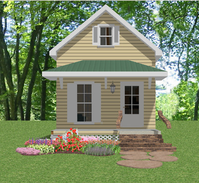 Tiny House Home Build Plans 1 bed Cottage Narrow Lot 720 sf--PDF FULL PERMIT SET