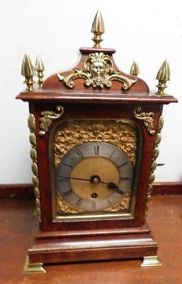 fusee oak and brass cased bracket clock