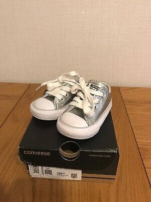 Converse Toddler Girl glitter Metallic Silver Infant Size 3 Eur19 Worn Once Xmas
