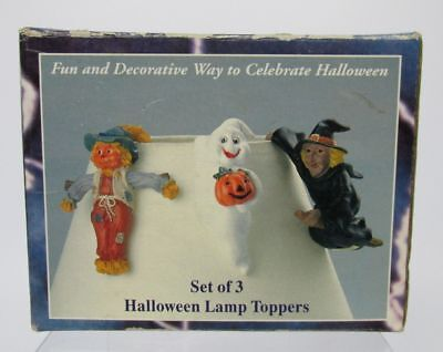 Halloween Lamp Toppers Plant Pots Figurines Set of 3 Scarecrow Ghost Witch