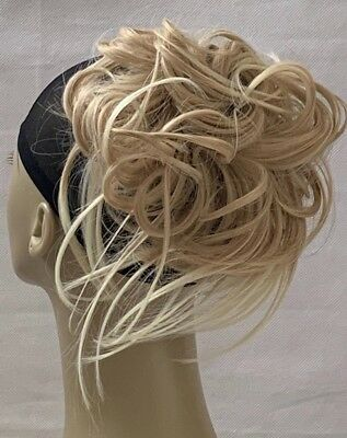 Tousled Style Synthetic Hairpiece Extension Bun Scrunchies Straight Elasticated