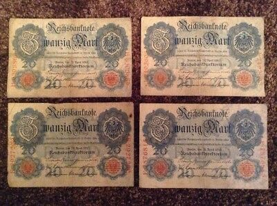 Lot Of 4 X German Banknotes. 20 Mark. Dated 1910. Reichsbanknote. Germany