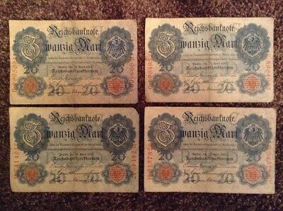 Lot Of 4 X German Banknotes. 20 Mark. Dated 1910. Reichsbanknote. Germany.