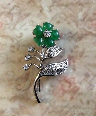 Vintage Emerald Quartz Cabochan Flower Brooch