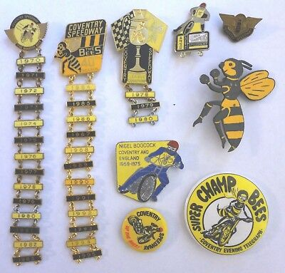 Coventry Bees Speedway badges - 1970's to 1980's