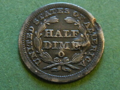 1856 O seated liberty half dime five cent silver coin