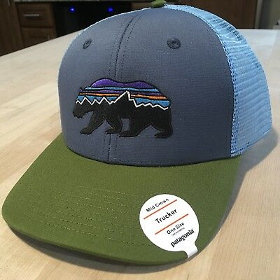 Patagonia Fitz Roy Bear Trucker Hat New With Tags - Dolomite Blue - Sold Out 7c0d8246405b