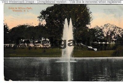 Postmarked 1915 ~ Lake in Wilcox Park, Westerly, RI