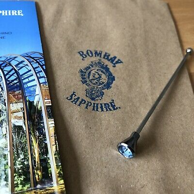 Bombay Stainless Steel And Blue Gem Cocktail Stick Stirrer