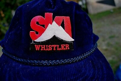 Ski Whistler Hat Vintage Corduroy With Rope On Brim , Wilson International M/l