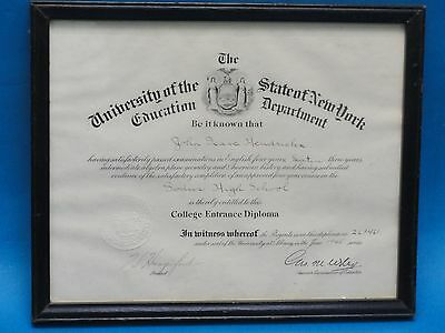 ORIGINAL 1945 COLLEGE ENTRANCE FRAMED DIPLOMA UNIVERSITY of  STATE OF NEW YORK