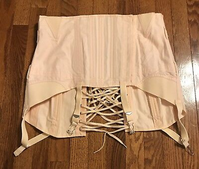 Vintage Camp Corset Girdle Hook And Eye Model 583 33 Peach Pink Garter