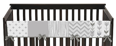 Grey and White Woodsy Long Front Rail Guard Baby Teething Cover Crib Protector