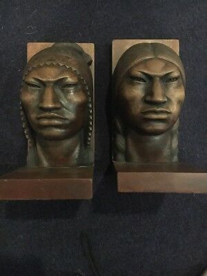 Vintage 1950s Wood Carved Aymara Native Couple Sculptures -Bolivian Art - Arias