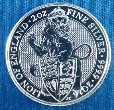 2016 Queen's Beasts Lion of England 2 Ounce .9999 Silver Coin