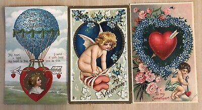 Nice Lot of 3 Cupids~ Hearts~Flowers Antique Embossed Valentine Postcards-a375