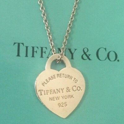 Please Return to Tiffany & Co New York 925 Sterling Silver Pendant Necklace Box