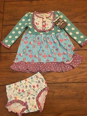 Matilda Jane Teal & Pink Stained Glass Dress & Diaper Cover - 6-12 Months