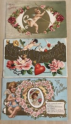 Nice Lot of 3 Cupids~ Hearts~Flowers Antique Embossed Valentine Postcards-a378
