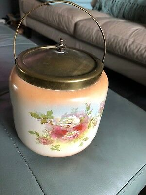 Glass Biscuit Jar Peek Great & Co. S.F & Co. England Floral Roses Excellent