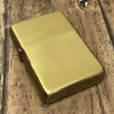 1968 Vintage Zippo Lighter - Rare Satin Brass Finish - Made by Zippo for Roseart