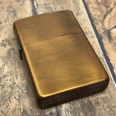 1958 Vintage Zippo Lighter - Burnished Brass - Made by Zippo for Roseart - Rare