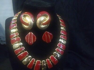 Vintage Costume Jewelry Red And Gold Tone Necklace And Two Pairs Of Earrings Set
