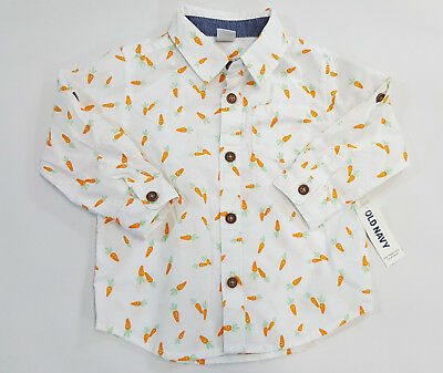 NWT Old Navy Baby Boys Size 12 18 Months Carrots Button Up Long Sleeve Shirt