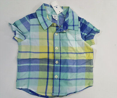 NWT Baby Gap Boys Size 6-12 Months Blue Plaid Button Up Short Sleeve Shirt