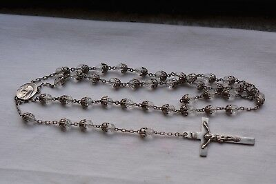 Vintage Antique Sterling Silver Crucifix Crystal Bead Rosary For Repair