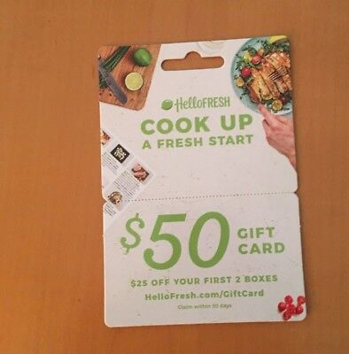 HELLO FRESH - $50 Gift Card ($25 Off First 2 Boxes)