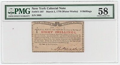 New York Colonial Note Fr#NY-197 Mar 5, 1776 Water Works 8 Shil.  (PMG 58 CH AU)