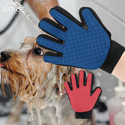 Pet Grooming Glove Gentle Massage Bath De-shedding Brush For Dogs Cats Horses 6