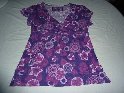 Mantaray Size 16 Pink/purple Floral Cotton Short Sleeve Tunic Top With Belt