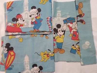 Mickey Mouse Disney Vintage Walt Minnie Donald Duck Twin Sheet Pillow Case Set