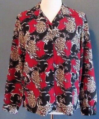 b60aa6c816a44 Donnkenny Womens Shirt Small Animal Print Button Front Long Sleeve Blouse