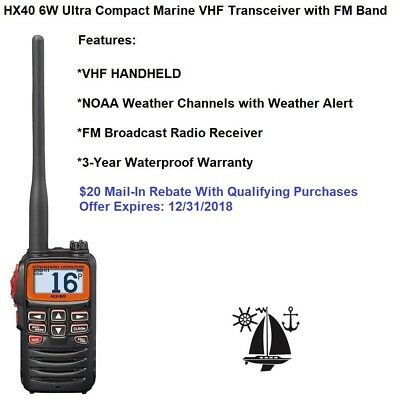Standard Horizon Ultra Compact Hx40 6W  Marine Vhf Transceiver With Fm Band