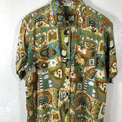 VTG Jaeger Sz M Dress Shirt Aztec Aloha Button Front Rayon Tribal Oversized